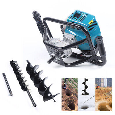 52cc Gas Powered Post Hole Digger Earth Auger Borer Fence Ground 2 Drill Bits