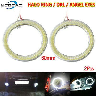2Pcs Car Angel Eyes LED Headlight 60mm Halo Ring Warning Lights DC 12V Angel Eyes Car
