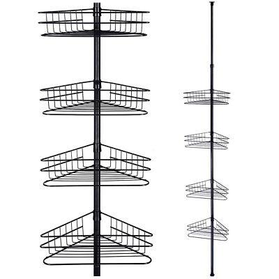 4 Tier Tension Metal Corner Pole Shower Caddy Shelf  Bathroom Storage Organizer