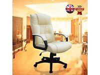 SALE!! CREAM OFFICE CHAIR PADDED LEATHER HIGH BACK GAMING CHAIR STUDY CHAIR ERGONOMIC CHAIR