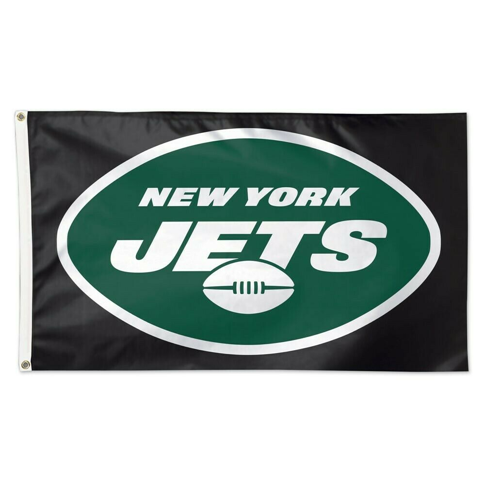 NEW YORK JETS BLACK BACKGROUND 3'X5' DELUXE FLAG BRAND NEW W