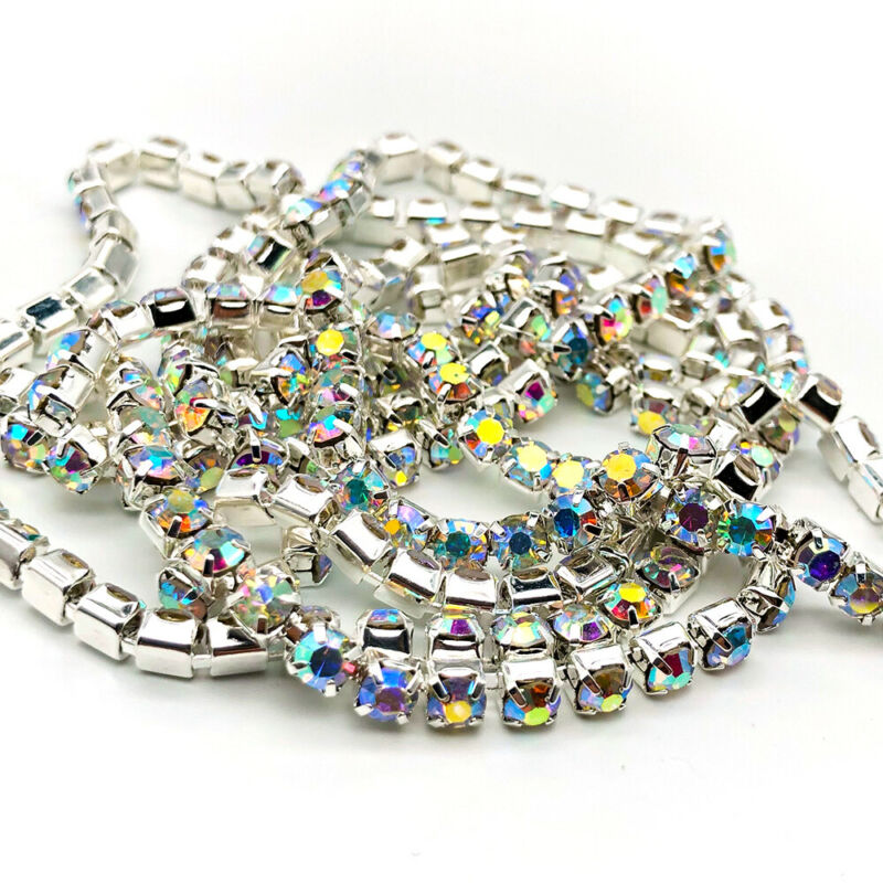 1yard Glitter Flatback Sew On Rhinestones Chain Glass Crystals With Alloy Claw