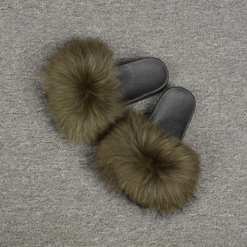 Beach Vacation Slides Fluffy Slippers Real Raccoon Fur Slides Flat Soft 76020B