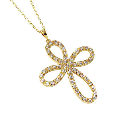 14K Yellow Gold Over 925 Sterling Silver Cross Necklace Pendant W  Diamonds 18