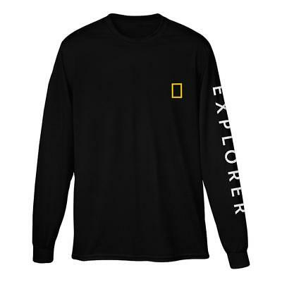 National Geographic Logo Long Sleeve EXPLORER Unisex Black Shirt Size USA MADE