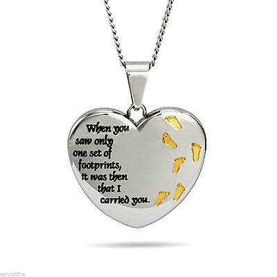 Footprints In The Sand Heart Pendant (s), PUFFY 3-D Heart, Stainless Steel, USA!