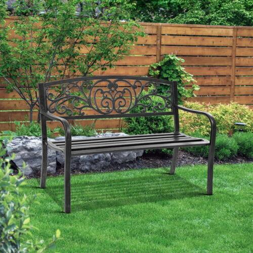 Garden Furniture - Gardeon Garden Bench Seat Steel Outdoor Patio Park Lounge Furniture Chair Black