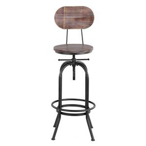 Rustic Bar Stool Vintage Industrial Height Adjustable W/Backrest K6S7  sc 1 st  eBay & Industrial Bar Stools | eBay islam-shia.org