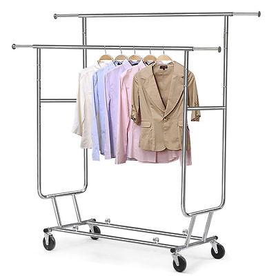 Adjustable Garment Clothing Rolling Double Rail Retail Display Hanger Rack Wheel
