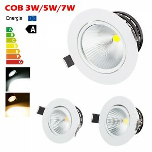 cob 3w 5w 7w dimmable led recessed downlight kit ceiling down spot light driver ebay. Black Bedroom Furniture Sets. Home Design Ideas