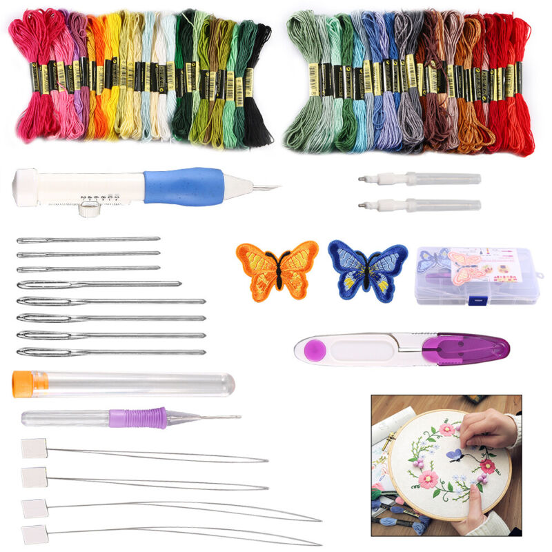 DIY Embroidery Pen Knitting Sewing Tool Set Punch Needle Set + 50 Threads