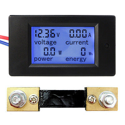 Dc 6.5100v 20a 50a 100a Lcd Digital Current Voltage Power Energy Panel Meter