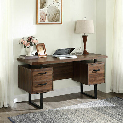 Home Office Computer Desk Wdrawers Letter-size File Cabinet Study Writing Table