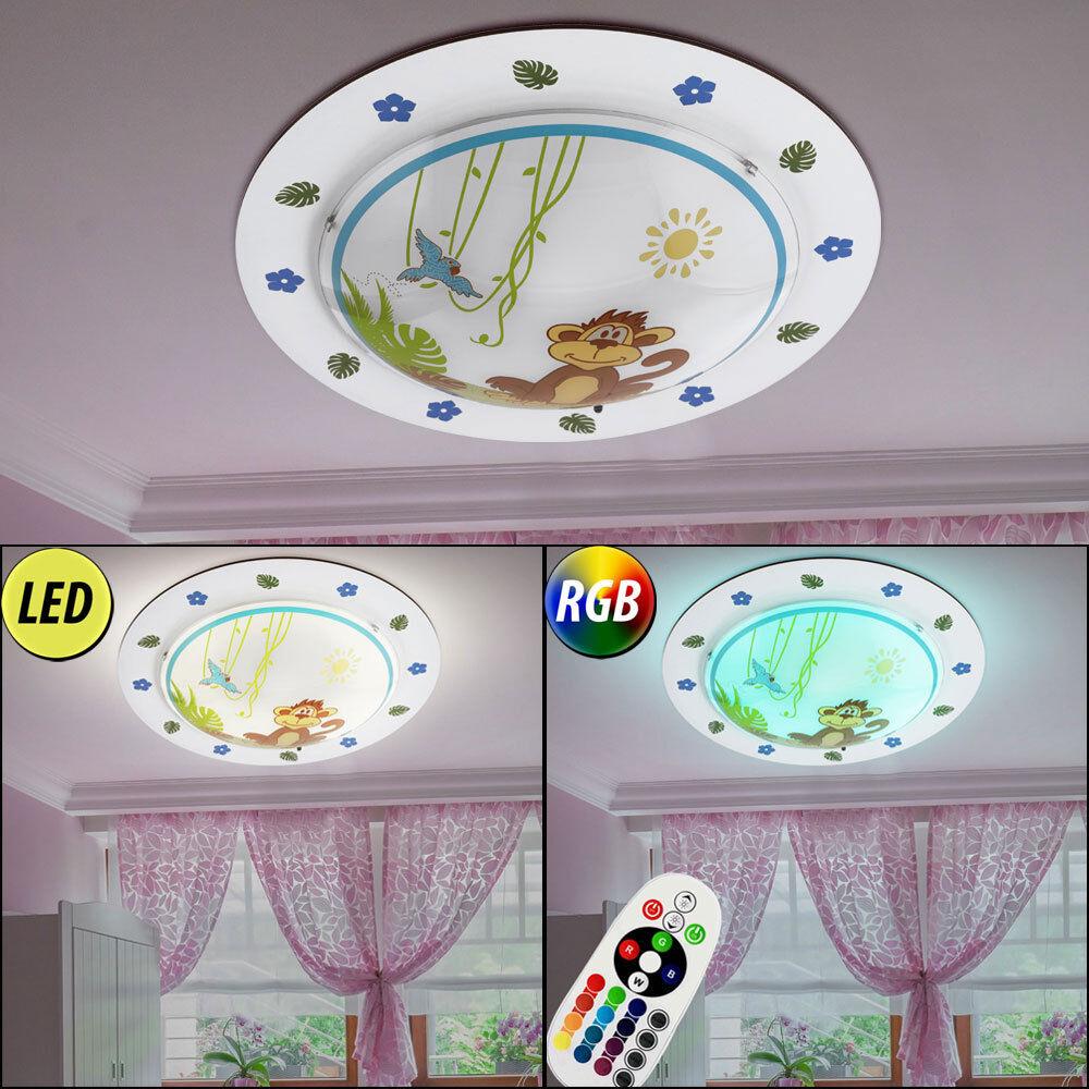 LED Kinder-Baby-Zimmer Decken Lampe Dimmbar RGB Zoo Tier Leuchte Fernbedienung