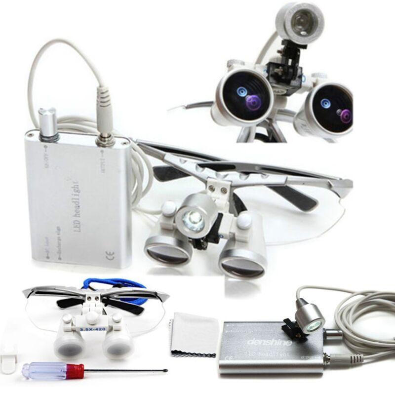 3.5x420 Dental Surgical Binocular Loupes+LED Head Light optical glass Dentist US