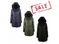 FREE DELIVERY AMAVISSE UK - NEW Women Clothes Fashion Puffy Long Parka Jacket with Faux Fur Hood