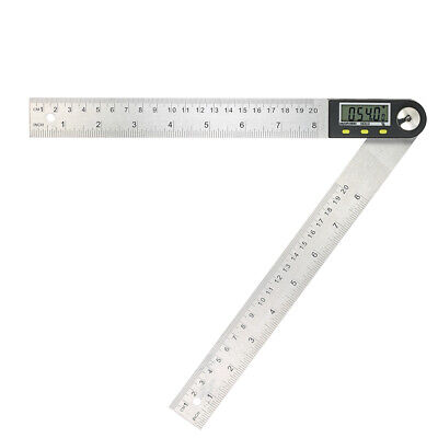 """Portable Digital Protractor Angle Finder 0-200mm/8"""" Stainless Steel Ruler Q2N5"""