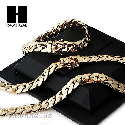 14k Gold Finish Heavy 12mm Miami Cuban Link Chain Necklace Bracelet Various SetE