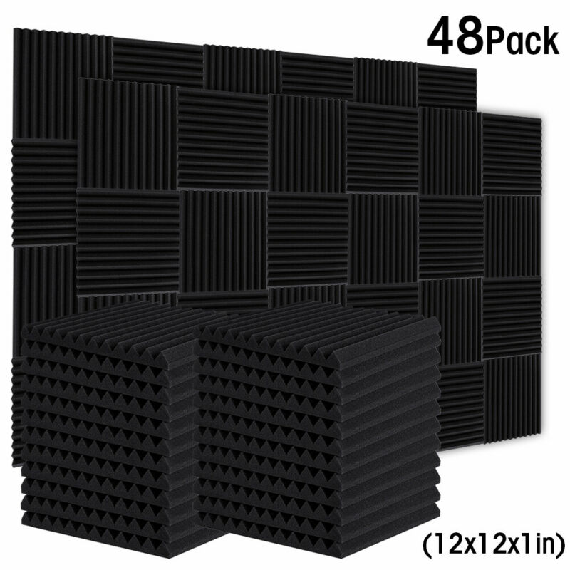 "48 Pack 12"" X 12"" X 1"" Acoustic Foam Panel Studio Wedge Wall Tiles Soundproofing"