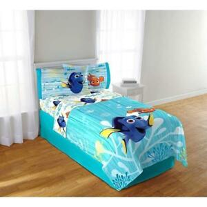 "Disney Pixar Finding Dory Twin Sized 4 Pieces Bedding Set - Comforter and Sheet Set 66"" x 96"""
