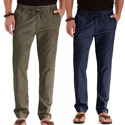 Mens Linen Cotton Loose Pants Beach Yoga Casual Long Slacks Trousers GYM Pockets