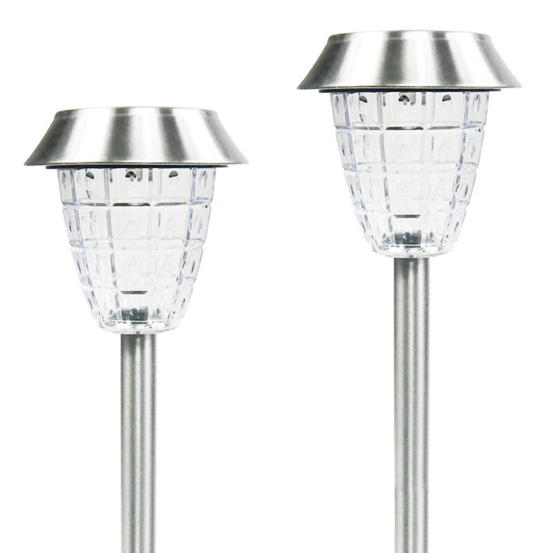 12 Outdoor Stainless Steel Solar LED Bright White Landscape Path Light Yard Lamp