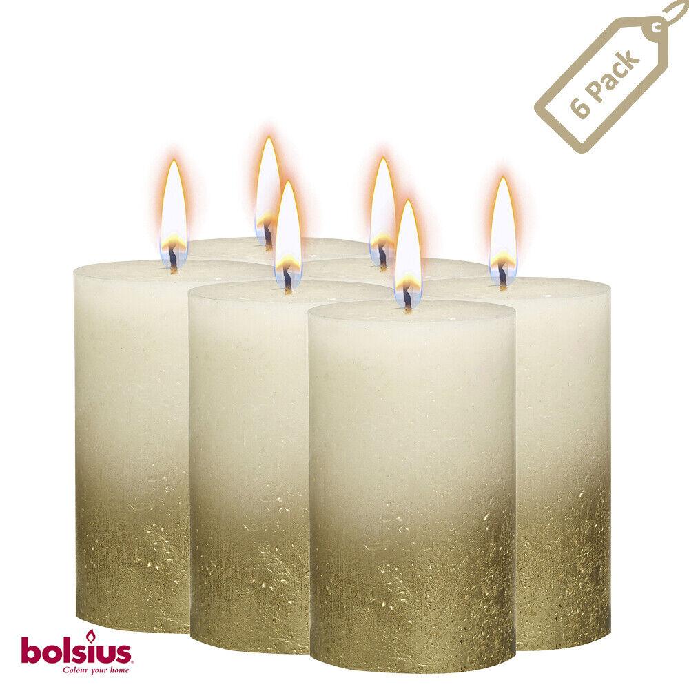 "Metallic Ivory & Gold Pillar Candles 2.75 X 5"" Unscented 6 P"