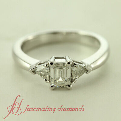 .80 Ct Emerald Cut Diamond Three Stone Engagement Ring SI2-E Color GIA Certified 1