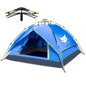 NEW Night Cat Camping Tent 2 3 4 Person Easy Instant Pop Up Tent Backpacking Automatic Hydraulic Double Layer Conditi...