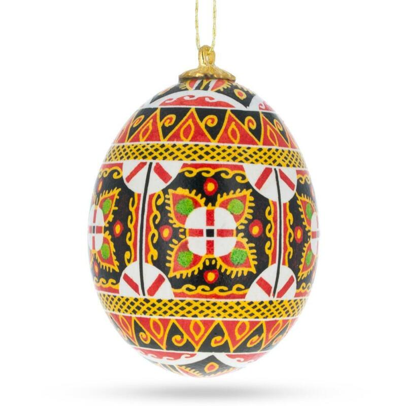 Hollow Real Blown out Eggshell Pysanka Ukrainian Easter Egg Ornament