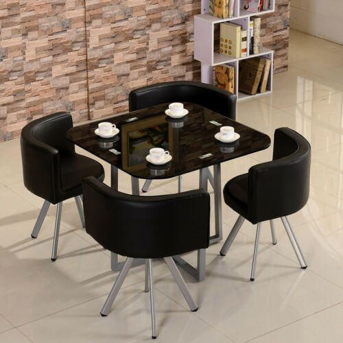 Space Saver Dining Room Table: Dining Table 4 PU Leather Chairs Set Round Tempered Glass