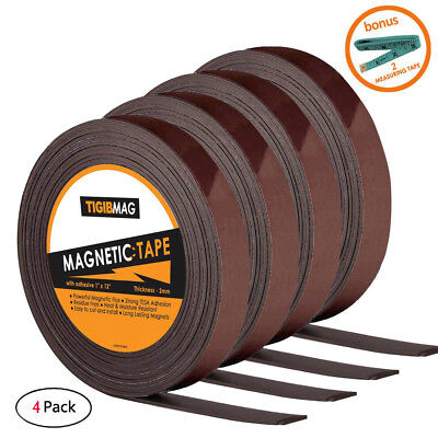 Flexible Magnetic Tape 1 Inch X 12 Feet Magnetic Strip Roll Strong Self Adhesive