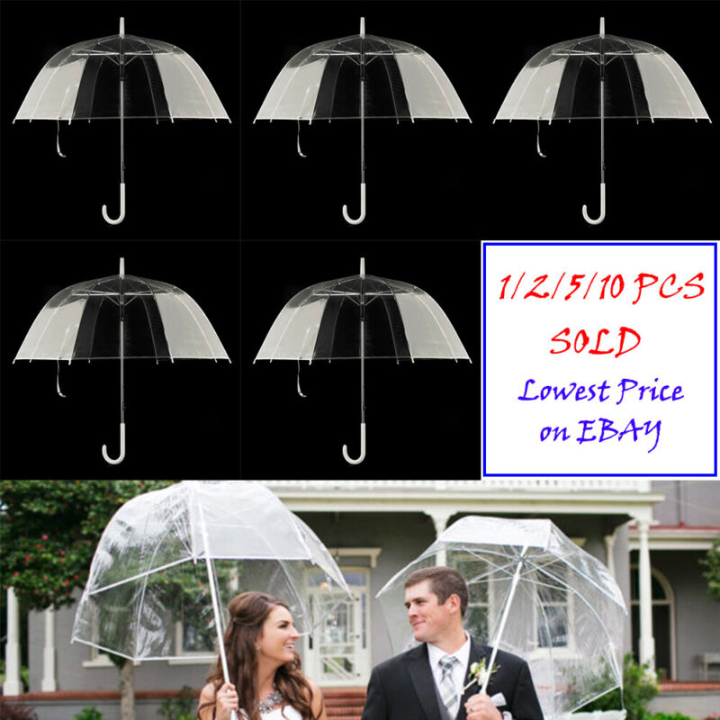 LOT 1/2/5/10 Transparent Clear Wedding Umbrella Automatic Rain Proof Parasols