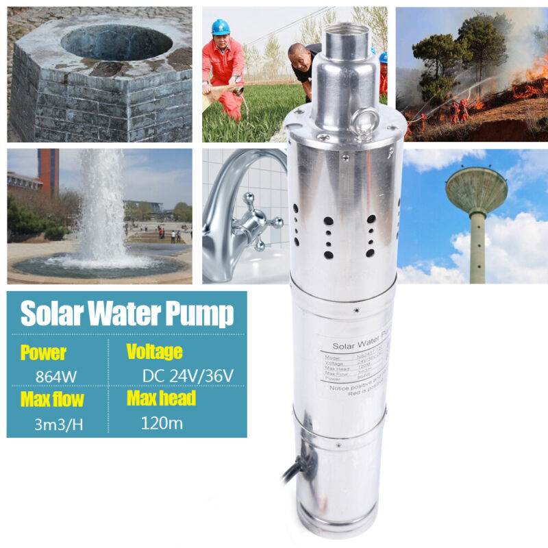 24V Borehole Submersible Solar Powered Water Pump Pond Fountain Irrigation 120m