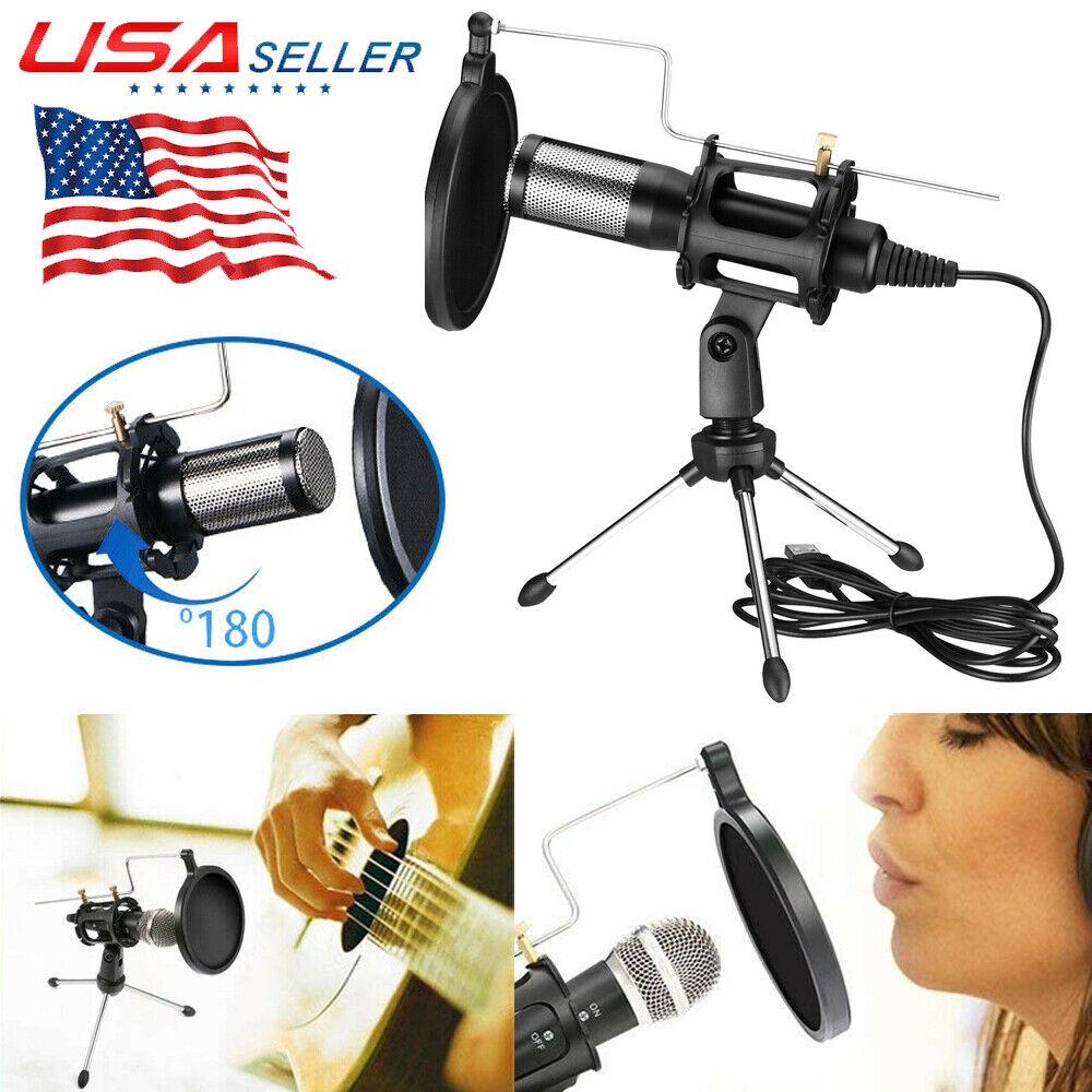 For Home Studio Video Record USB Plug Condenser Microphone +