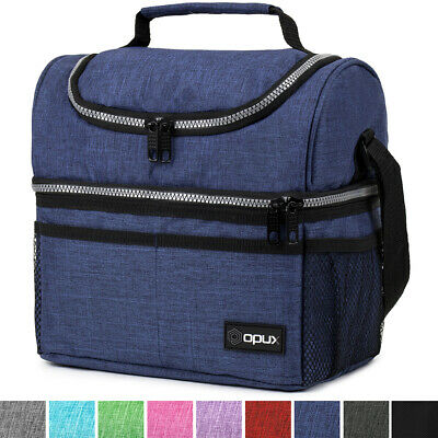 insulated lunch bag dual compartment double deck
