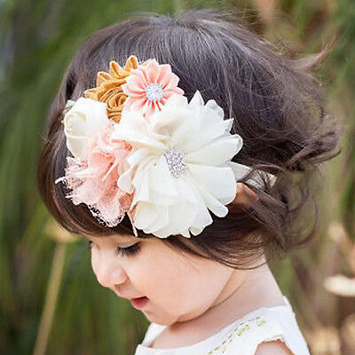 Flower Lace Rhinestone Headband Elastic Hair Band Baby Girl Kid Hair Accessories