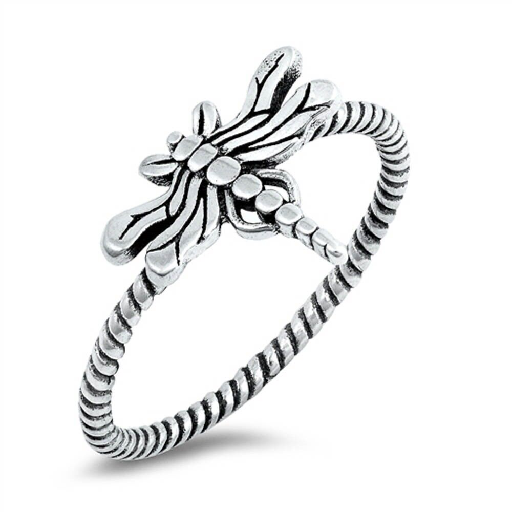 Womens Dragonfly Flower Fashion Ring New .925 Sterling Silver Band Sizes 4-10