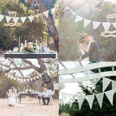 Vintage White Lace Triangle Flag Bunting Pennant Banner for Wedding Decor New (White Pennant)