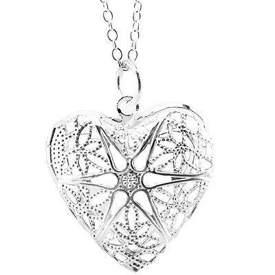 Versilbert Herzförmige Offen Medaillon für Foto Anhänger Halskette N287 ()