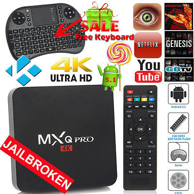 MXQ PRO 4K S905 Quad Core Android 5.1 Smart TV Box Fully Loaded+Keyboard