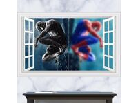 3D Windows Colorful Spider Man wall sticker, BRAND NEW, 90 x 60cm