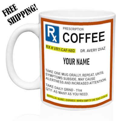 Rx - Prescription Strength Coffee - Personalized Name - Funny Mug Gift for Dad - Personalize Mug