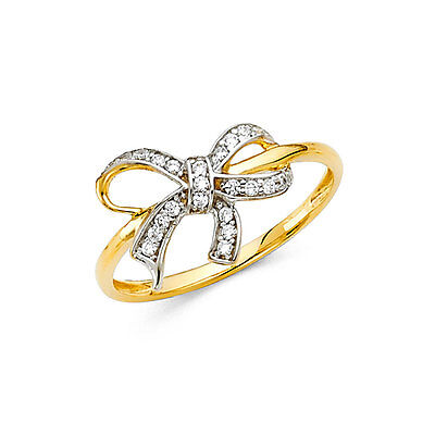 14K Solid Yellow Gold 0.50 Ct Diamond Ribbon Bow Fancy Fashion Cocktail Ring  14k Gold Ribbon Ring