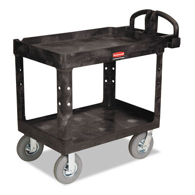 Rubbermaid Heavy-duty Utility Cart Two-shelf Black 452010bla New