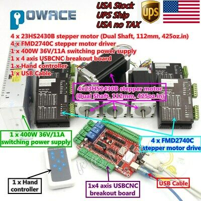 Us4axis Usb Cnc Controller Kit Nema23 Stepper Motor 112mm 425oz.indriverpower