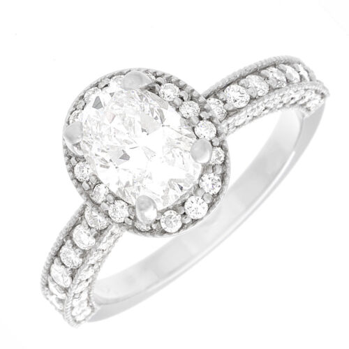 Diamond Engagement Ring Oval & Round Cut 2.20 Carat GIA Certified 18k White Gold