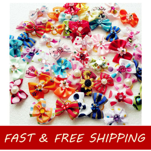 100pcs Mixed Handmade Designer Pet Puppy Cat Dog Accessory Hair Bows Grooming