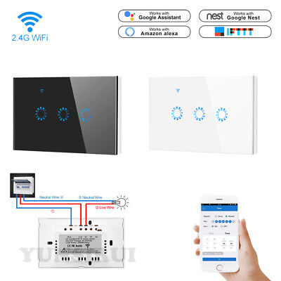 US 1/2/3 Gang Smart Touch Light Switch WiFi APP Voice Control For Android (Glasses App For Android)