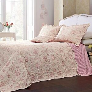 Super King Size Riva Etoille Pink Quilted Cotton Bedspread